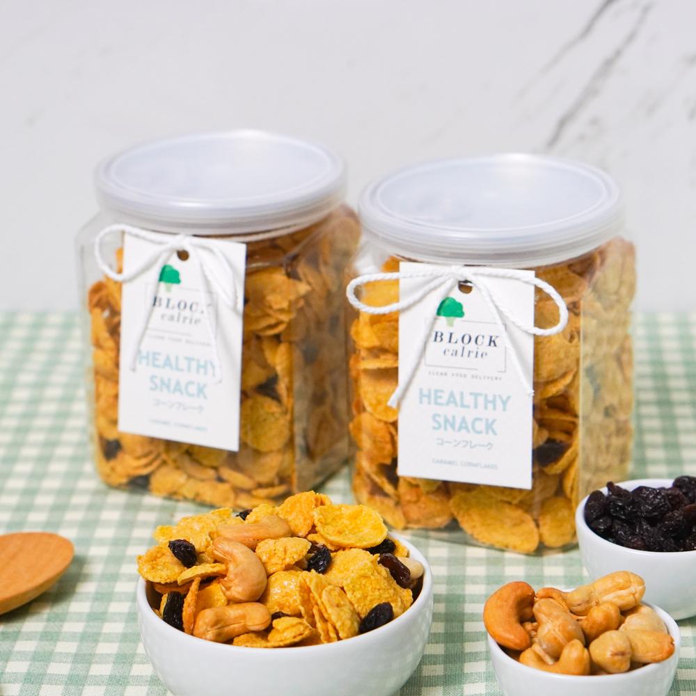 Y08 คอร์นเฟรคคาราเมล 180g. (Caramel Cornflakes with Cashew nut & Raisin)