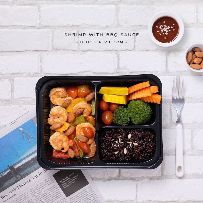 S2 ข้าวกุ้งผัดซอส BBQ(Shrimp with BBQ sauce & almond)